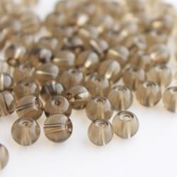 6mm Round Glass Beads - Smoky Topaz