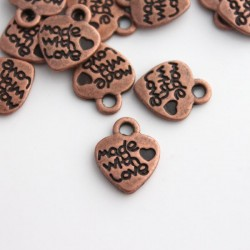 "Copper Tone ""MADE WITH LOVE"" Heart Charms"