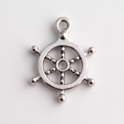 Antique Silver Tone Ship's Wheel Charms - 21mm