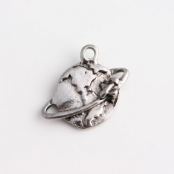 Antique Silver Tone Globe Charm - Front
