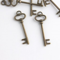 Bronze Tone Large Key Charms