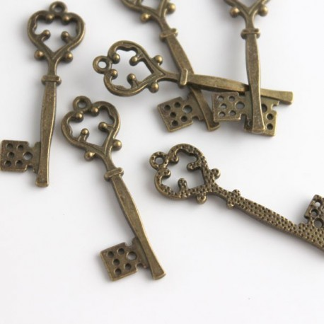 Bronze Tone Ornate Large Key Charms