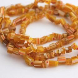 Millefiori Yellow Glass Chips - 81cm strand