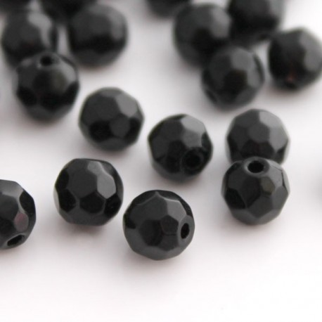 6mm Round Faceted Glass Beads - Black