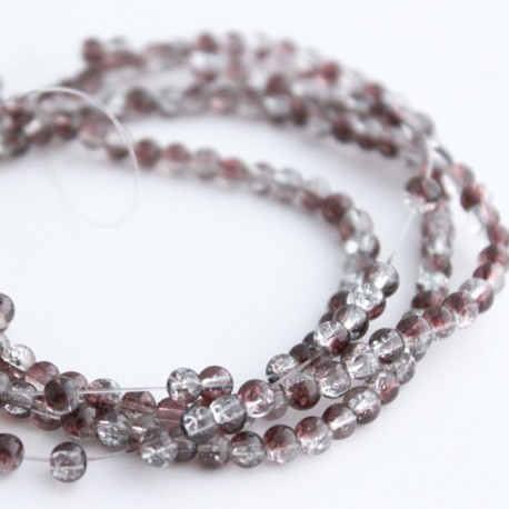 4mm Brown and Clear Glass Crackle Beads