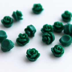 Tiny Resin Flower Cabochon - Green