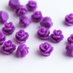Tiny Resin Flower Cabochons - Purple