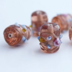 Lampwork 'Wedding Cake' Bead - Peach
