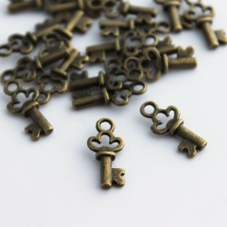 Antique Bronze Tone Small Key Charms