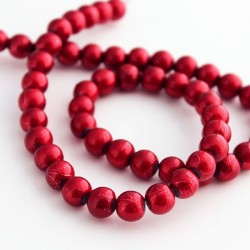 8mm Drawbench Glass Beads - Crimson