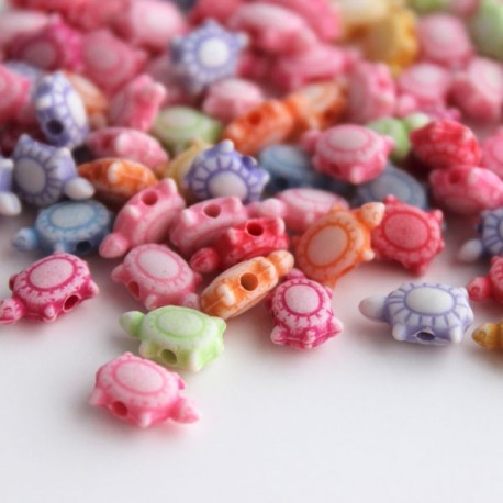 Acrylic Tortoise Shaped Beads - Mixed Colour Pack