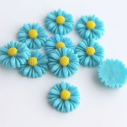 13mm Flower Cabochon - Blue