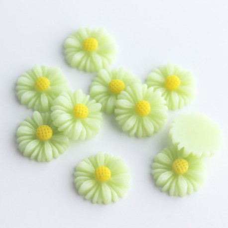 13mm Flower Cabochon - Light Green