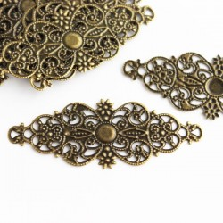 Antique Bronze Tone Filigree Wrap Connector