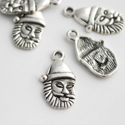 Antique Silver Tone Santa Claus Charms