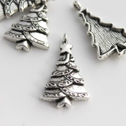 Antique Silver Tone 29mm Christmas Tree Charm