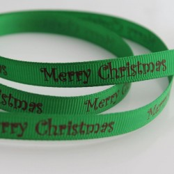 10mm Grosgrain Ribbon - Green 'Merry Christmas'