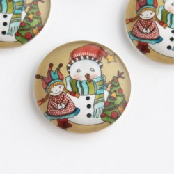 20mm Round Glass Cabochon - Christmas Snowman