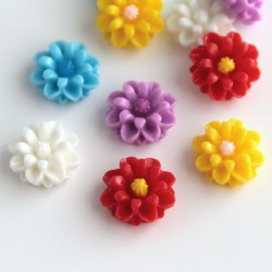 13mm Resin Flower Cabochons - Mixed Colours