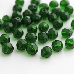 8mm Faceted Round Glass Beads - Dark Green - Pack of 40