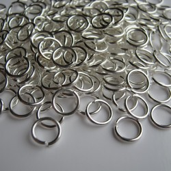 7mm Jump Rings - Silver Plated - Pack of 100
