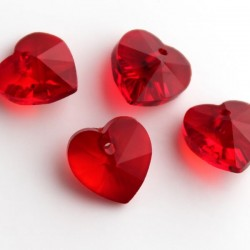 10mm Red Crystal Glass Heart