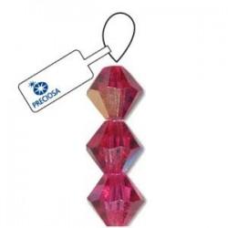 Preciosa Crystal 4mm Bicone Beads - Fuchsia AB