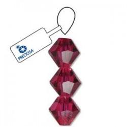 Preciosa Crystal 4mm Bicone Beads-Fuschia