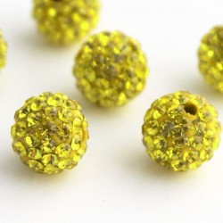 Lemon Yellow 10mm Shamballa Style Bead