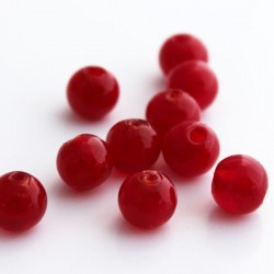 10mm Silver Foil Glass Beads - Red