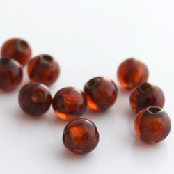 10mm Silver Foil Glass Beads - Brown