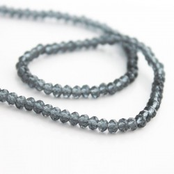 3mm x 4mm Crystal Glass Rondelles - Grey