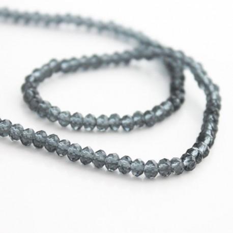 3mm x 4mm Crystal Glass Rondelles - Grey
