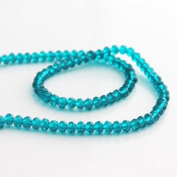 3mm x 4mm Crystal Glass Rondelles - Teal
