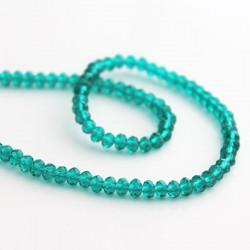 3mm x 4mm Crystal Glass Rondelles - Light Emerald