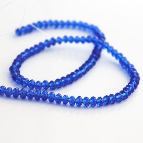 3mm x 4mm Crystal Glass Rondelles - Sapphire Blue