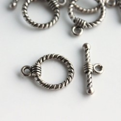 Antique Silver Tone Toggle Clasps - Twist Pattern