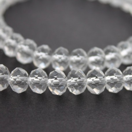 6mm x 8mm Clear Crystal Rondelle Beads - 20cm Strand
