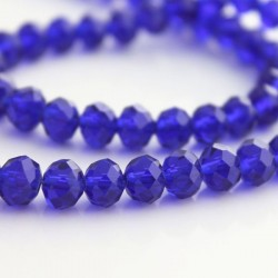 6mm x 8mm Cobalt Blue Crystal Rondelle Beads