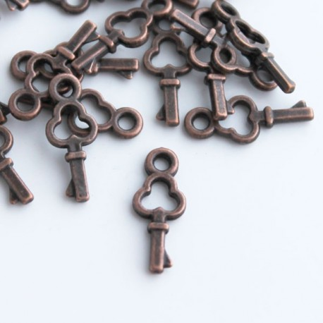 Antique Copper Tone Small Key Charms