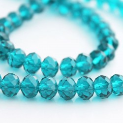 6mm x 8mm Teal Crystal Rondelle Beads