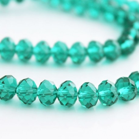 6mm x 8mm Light Emerald Crystal Rondelle Beads