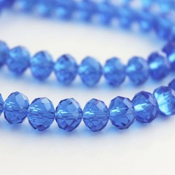 6mm x 8mm Sapphire Blue Crystal Rondelle Beads
