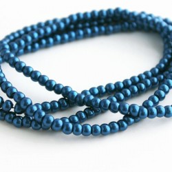 4mm Value Glass Pearl Beads - Dark Blue