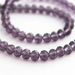 4mm x 6mm Crystal Rondelle Beads - Amethyst