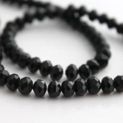 4mm x 6mm Crystal Rondelle Beads - Black