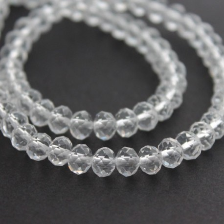 4mm x 6mm Crystal Rondelle Beads - Clear