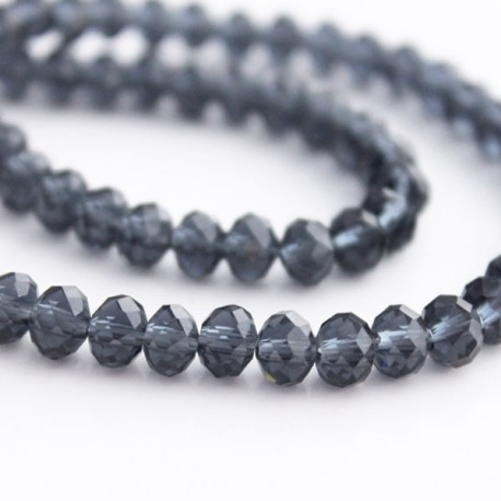 4mm x 6mm Crystal Rondelle Beads - Grey