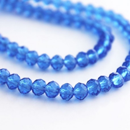 4mm x 6mm Crystal Rondelle Beads - Sapphire Blue