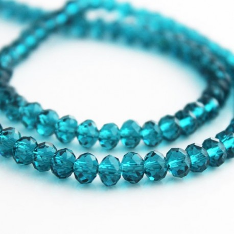 4mm x 6mm Crystal Rondelle Beads - Teal